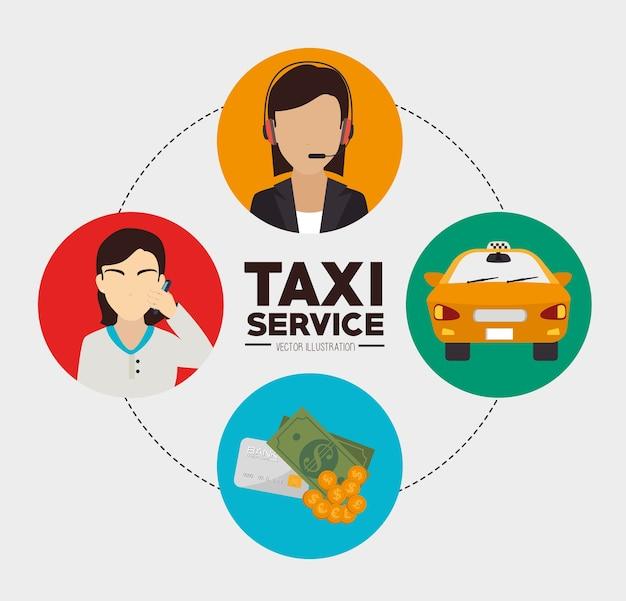 Progettazione di taxi, illustrazione vettoriale.