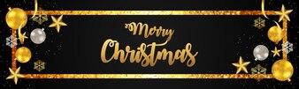 Progettazione di testo dorato per banner di Natale 2019