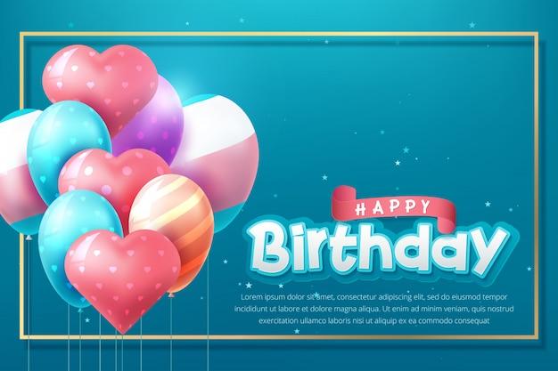 Progettazione di tipografia celebrazione di buon compleanno con palloncini dorati realistici.