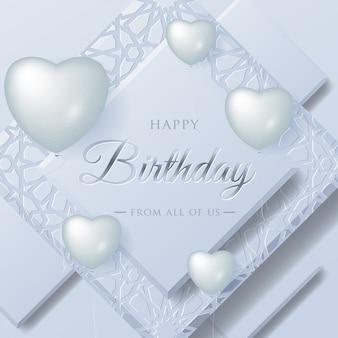 Progettazione di tipografia di celebrazione di buon compleanno per biglietto di auguri con palloncini di amore realistico e materiale stratificato