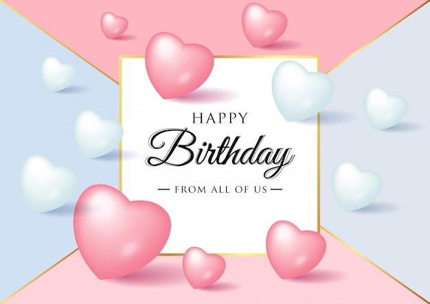 Progettazione di tipografia di celebrazione di buon compleanno per biglietto di auguri con palloncini di amore realistico