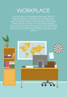 Progettazione di un'area di lavoro vuota con materiale informatico mappa mondo mobili in legno chiaro