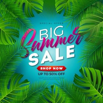 Progettazione di vendita di estate con le foglie di palma tropicali su fondo blu