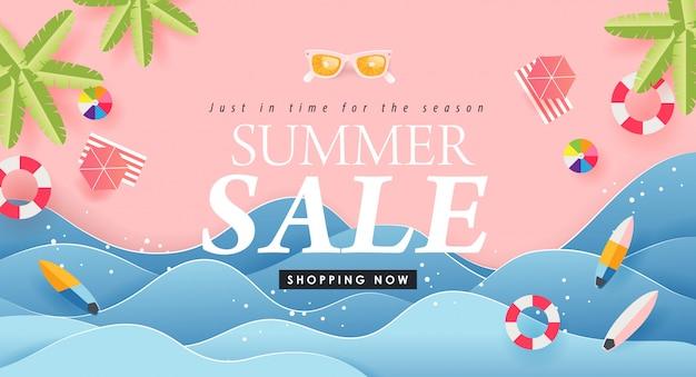 Progettazione di vendita di estate con le insegne luminose della disposizione del fondo di colore della spiaggia tropicale del taglio della carta concetto arancio degli occhiali da sole sconto del buono. modello di illustrazione.