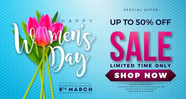 Progettazione di vendita di giorno delle donne con il fiore del tulipano su fondo blu