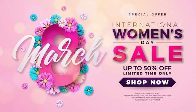 Progettazione di vendita di giorno delle donne con il fiore su fondo rosa