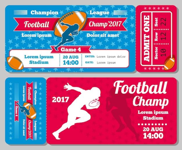Progettazione di vettore del biglietto di sport di calcio di rugby retro