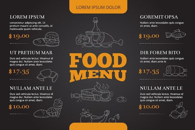 Progettazione di vettore del menu dell'opuscolo del ristorante