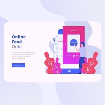 Progettazione di vettore del sito web della pagina di atterraggio di ordine dell'alimento online