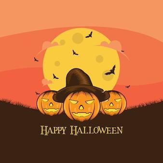 Progettazione di vettore dell'illustrazione delle zucche di halloween