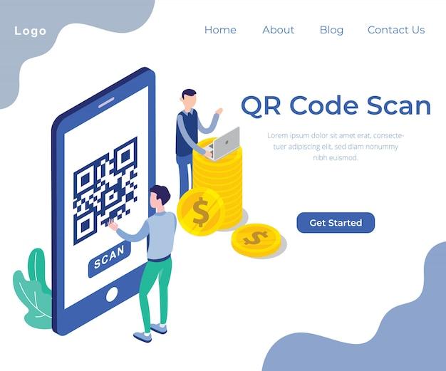 Progettazione di vettore dell'illustrazione di concetto di ricerca di codice di qr