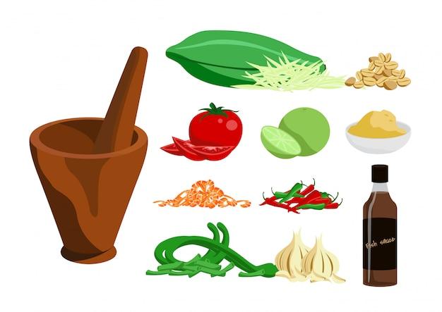 Progettazione di vettore dell'insalata della papaia dell'alimento tailandese