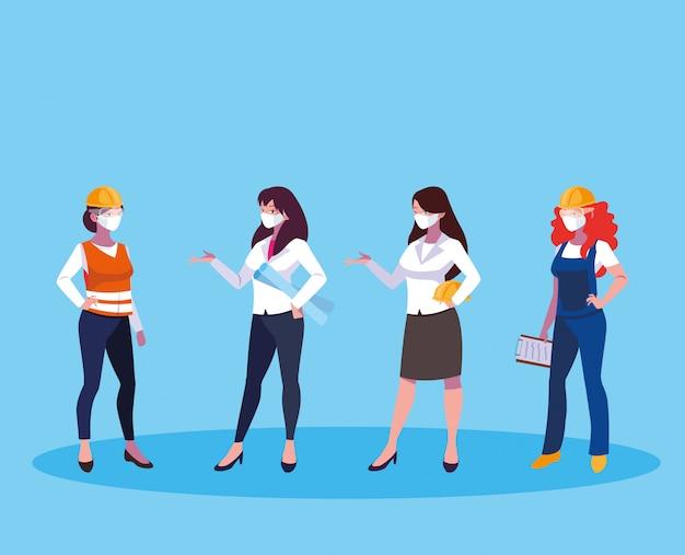 Progettazione di vettore della donna dell'ingegnere della donna di affari dell'ingegnere e del costruttore