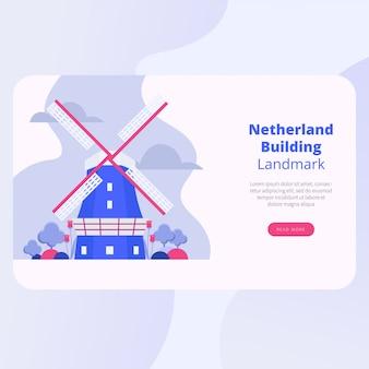 Progettazione di vettore della pagina di atterraggio del punto di riferimento dei paesi bassi