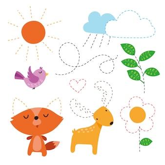 Progettazione di vettore di alfabeto per bambino, disegno vettoriale di carattere per bambino