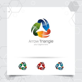 Progettazione di vettore di logo della freccia 3d con il concetto di stile moderno variopinto per l'affare digitale