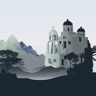 Progettazione di vettore di progettazione delle case delle cicladi di santorini