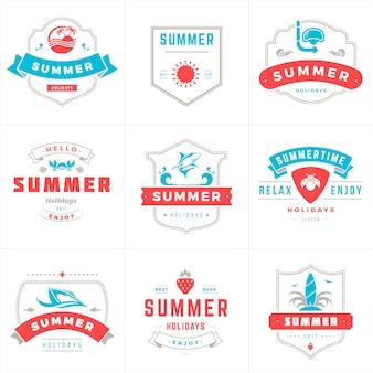 Progettazione di vettore di tipografia di etichette e distintivi di vacanze estive