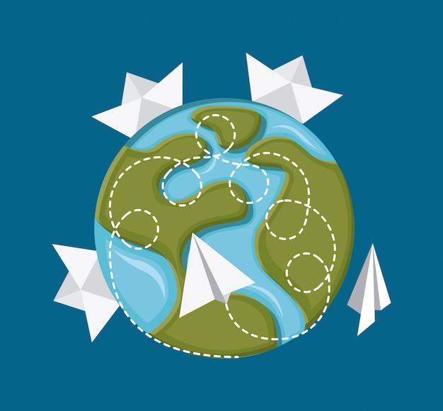 Progettazione di viaggio su sfondo blu illustrazione vettoriale