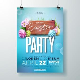 Progettazione di volantino festa di pasqua di vettore con uova e fiori