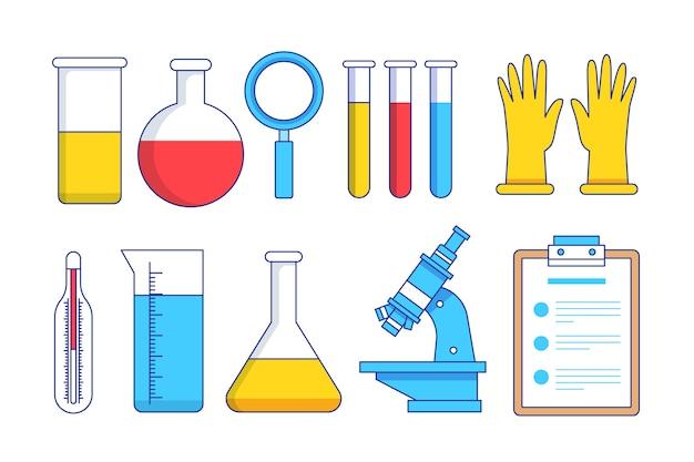 Progettazione disegnata a mano degli oggetti del laboratorio di scienza