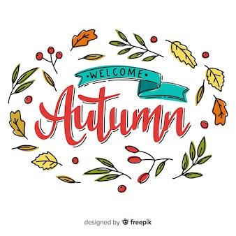 Progettazione disegnata a mano del fondo dell'iscrizione di autunno