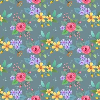 Progettazione disegnata a mano variopinta di vettore del modello di fiori. può utilizzare per lo sfondo di carta da parati tessile tessuto.