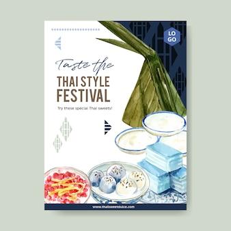 Progettazione dolce tailandese del manifesto con budino, acquerello stratificato dell'illustrazione della gelatina.