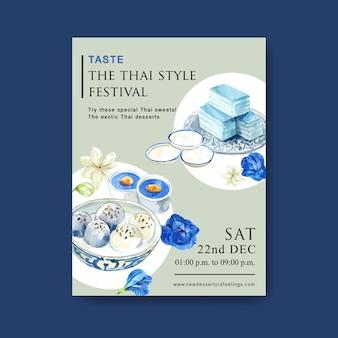 Progettazione dolce tailandese del manifesto con budino, gelatina stratificata, acquerello dell'illustrazione dei fiori di pisello.