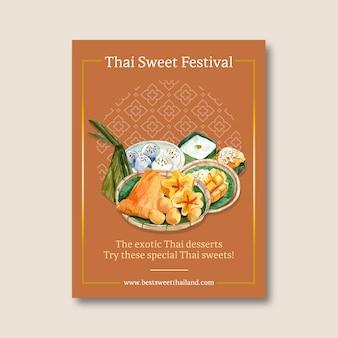 Progettazione dolce tailandese del manifesto con i fili dorati, acquerello dell'illustrazione del budino.