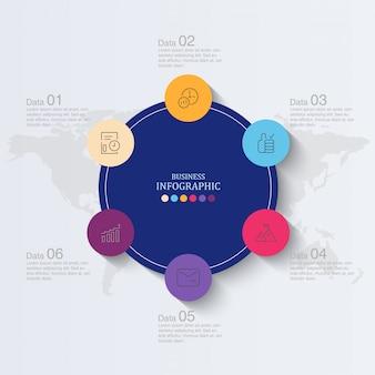 Progettazione e icone di infographics dei cerchi