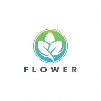 Progettazione elegante astratta di vettore di logo del fiore della foglia dell'albero