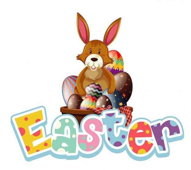 Progettazione felice del carattere di pasqua con il coniglietto e le uova di pasqua