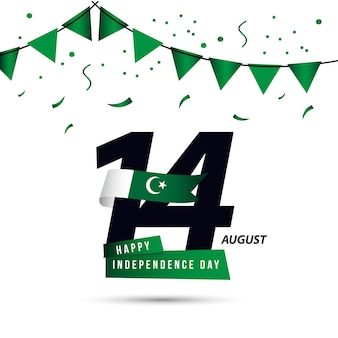 Progettazione felice del modello di vettore di giorno dell'indipendenza del pakistan