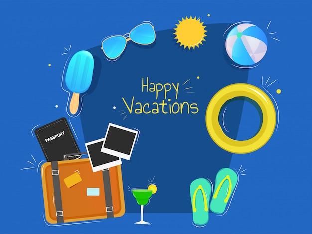 Progettazione felice dell'illustrazione di vacanza con gli elementi di estate