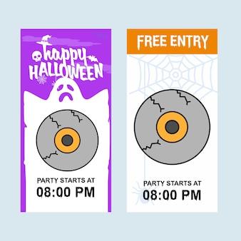 Progettazione felice dell'invito di halloween con il vettore della palla dell'occhio