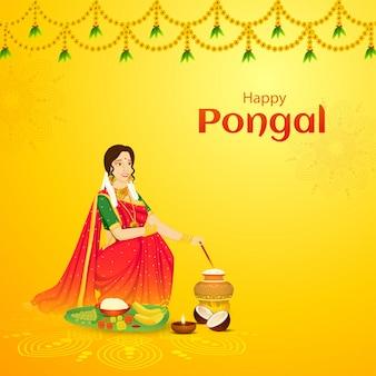 Progettazione felice della cartolina d'auguri di celebrazione di pongal, bella donna che mescola riso in vaso del fango con frutta