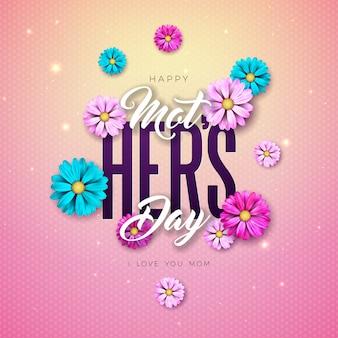 Progettazione felice della cartolina d'auguri di festa della mamma con la lettera di tipografia e del fiore su fondo rosa. modello di illustrazione di celebrazione per banner, flyer, invito, brochure, poster.
