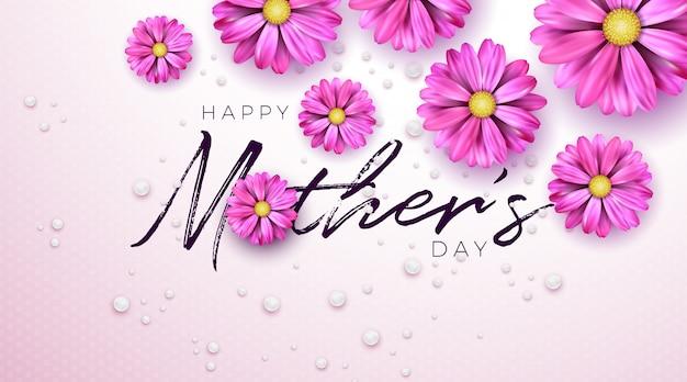 Progettazione felice della cartolina d'auguri di festa della mamma con la lettera di tipografia e del fiore su fondo rosa.