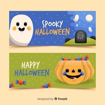 Progettazione felice delle bandiere disegnate a mano di halloween