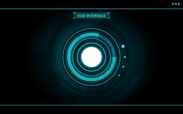 Progettazione futuristica del fondo del hud di tecnologia dell'estratto del cerchio blu per il gioco di fantascienza