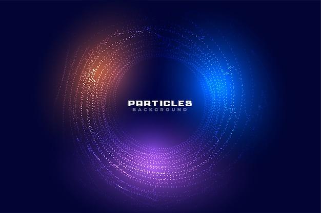 Progettazione futuristica digitale del fondo delle particelle circolari astratte