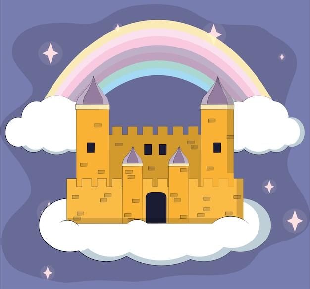 Progettazione grafica del fumetto dell'illustrazione magica di vettore del castello