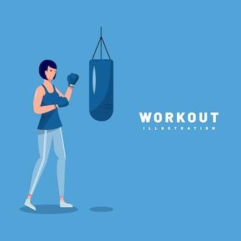 Progettazione grafica dell'illustrazione della donna che fa allenamento con fondo blu e la vista frontale.