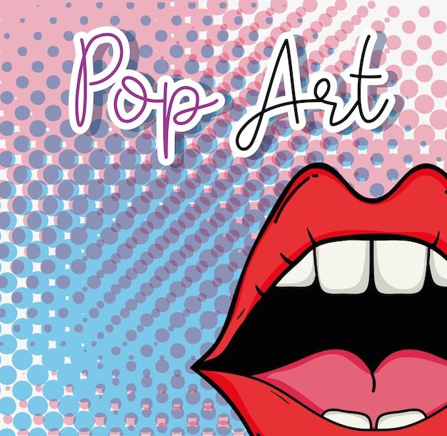 Progettazione grafica dell'illustrazione di vettore del fondo del modello della bocca di pop art