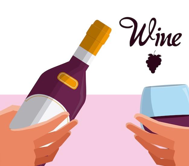 Progettazione grafica dell'illustrazione di vettore della bottiglia e della tazza di vino