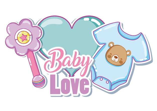 Progettazione grafica dell'illustrazione di vettore della carta di amore del bambino