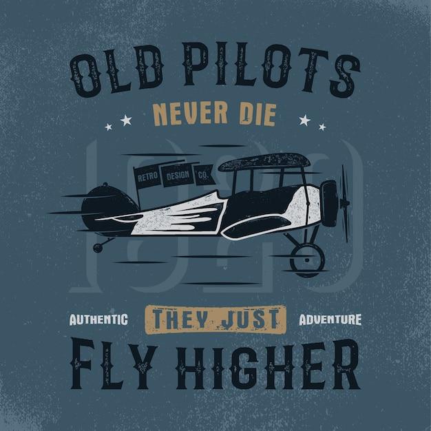Progettazione grafica dell'illustrazione disegnata a mano d'annata dell'aeroplano. citazione dei vecchi piloti