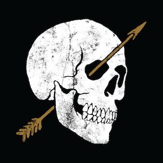 Progettazione grafica della maglietta di arte di vettore dell'illustrazione della freccia del cranio