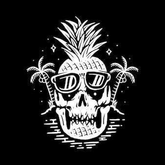 Progettazione grafica della maglietta di arte di vettore dell'illustrazione della linea del cranio di estate